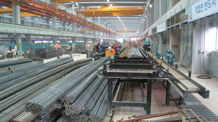 Steel bar production in the Samsung precast plant